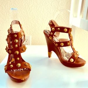 Betsy Johnson leather studded sandals.